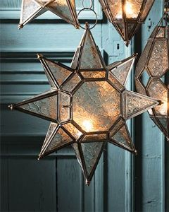 Lantern~ Hippy Bohemian Large Clear Textured Glass Star Shaped Hanging Lantern~ By Folio Gothic Hippy LT69